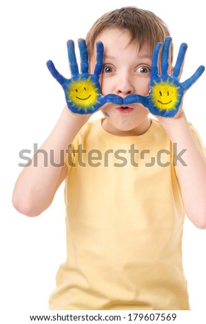 cute boy with painted hands, isolated over white - stock photo