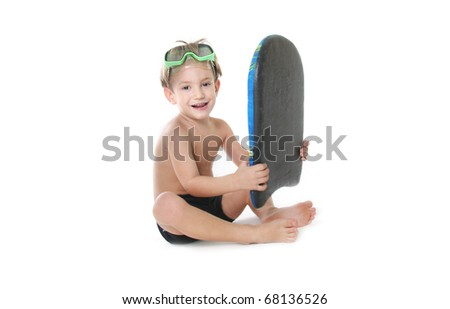 cute boy with swimming board over white