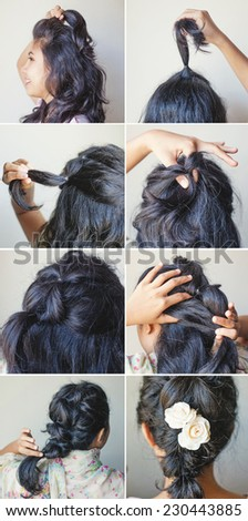 cute braid tutorial by beauty blogger - stock photo