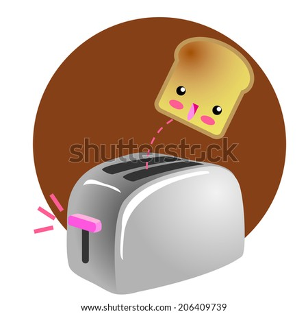 Cute Breakfast Jumping Toast. A kawaii drawing of a cute smiling toast jumping out the toaster, designed in japanese manga comic style. Isolated on white background - stock photo