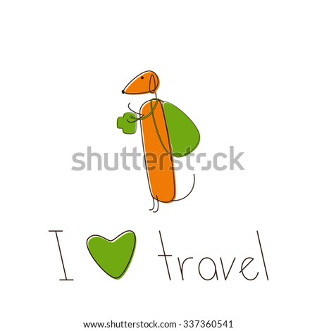 Cute brown contoured foxy colored dachshund with camera and lettering I love travel under it isolated on white background. Traveling concept, design element - stock photo