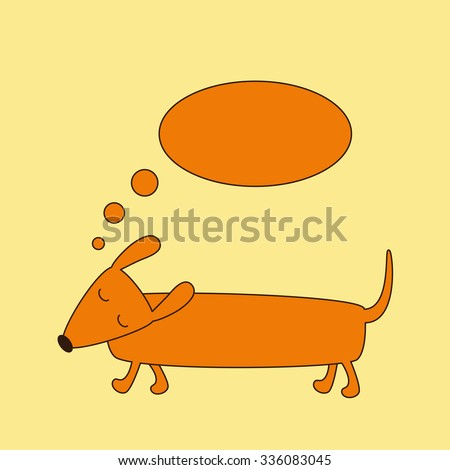 Cute brown contoured foxy colored dachshund with closed eyes, brown nose and curled tail and dream bubble over it isolated on ginger background. Logo template, design element - stock photo