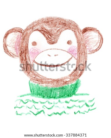 Cute brown hand drawn smiling and blushing monkey wearing cosy green knitted sweater created with pastel crayons. The symbol of New Year 2016. Kid cartoon style monkey. Childish sketch of a monkey.  - stock photo