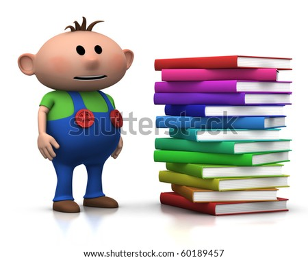 cute brownhaired boy standing beside a big stack of books - 3d rendering/illustration