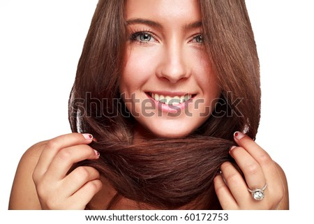 cute brunette  on  white background - stock photo