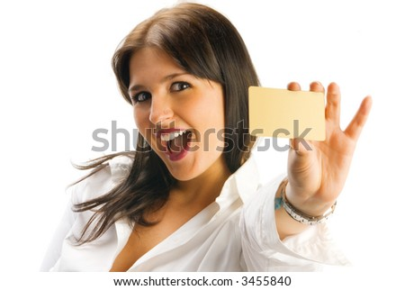 cute brunette showing blank credit card and smiling like in a supermarket advertising - stock photo