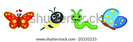 Cute bug graphics with faces isolated over white