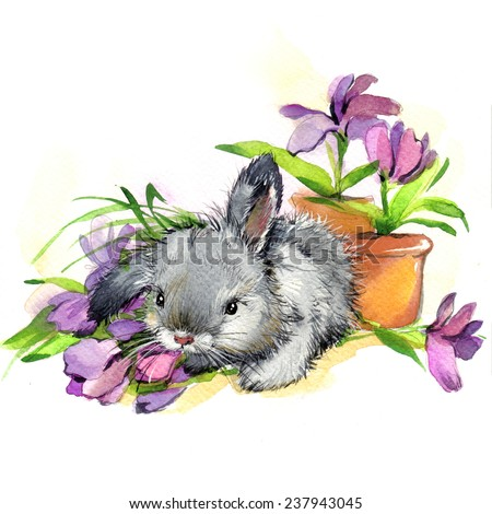 Cute bunny and flower. watercolor illustration - stock photo