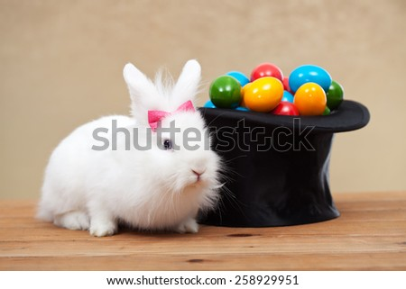 Cute bunny guarding a magician hat full of easter eggs - stock photo