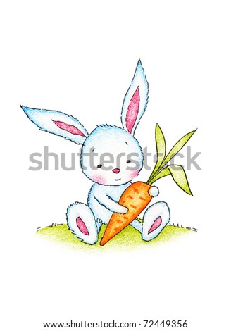 cute bunny with carrot on green lawn - stock photo