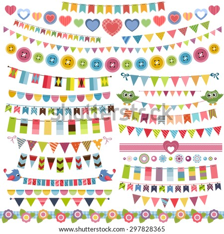 Cute bunting and garland set. Raster version - stock photo