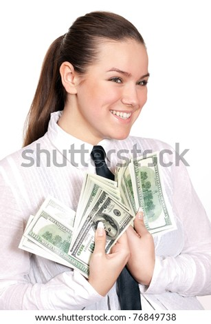 Cute business lady with money on white