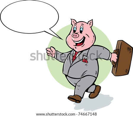 Cute Business Pig - stock photo