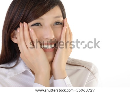 Cute business woman of Asian with hands on face, closeup portrait on white background. - stock photo