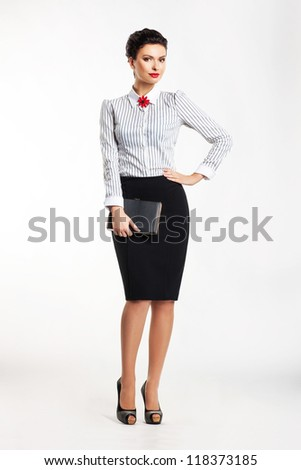 Cute business woman portrait isolated over white background - stock photo