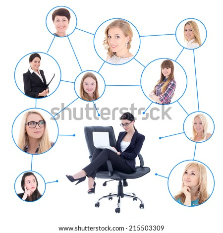 cute business woman with laptop and her social network isolated over white background