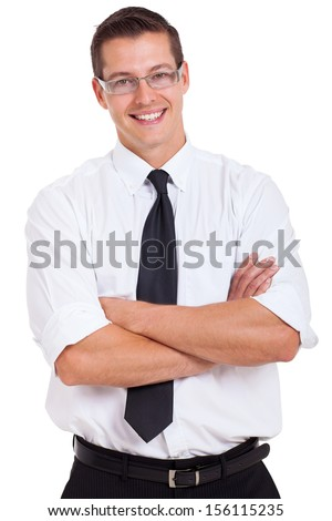cute businessman with arms folded looking at the camera isolated on white
