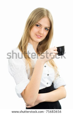 cute businesswoman with a black cup on white