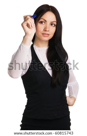 Cute businesswoman writing with a marker, white background - stock photo