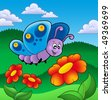Cute butterfly near red flowers - color illustration. - stock photo