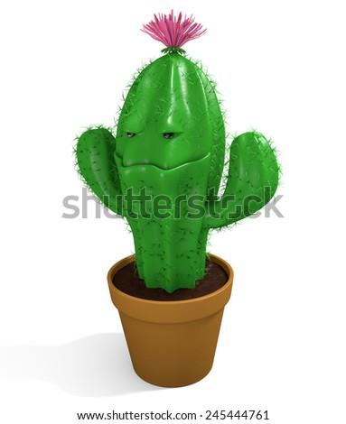 Cute cactus man houseplant growing in a clay garden pot - stock photo