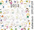 Cute calendar on New Year 2013 for kids - stock vector