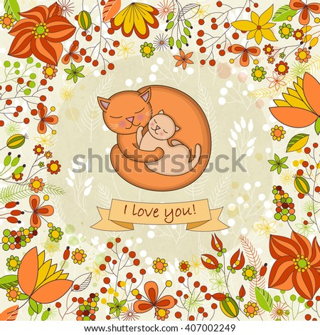 Cute card  for Happy mothers day. Background with floral frame and Mother's hugs. Cute cats - mom and kitten. Raster illustration.  - stock photo