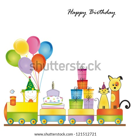 Cute card on birthday with colorful kids train - stock photo