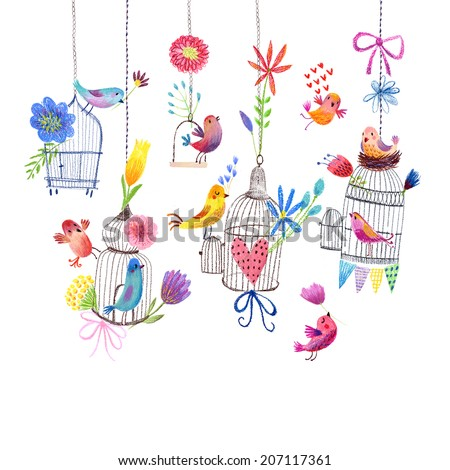 Cute card with birds and flowers Pastel drawing painting - stock photo