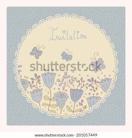 Cute card with lilac flowers and butterfly. Lilac background and white lace frame. Ideal for scrap booking, celebration card, invitation. - stock photo