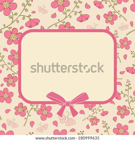 Cute card with pink flowers and butterfly. Ideal for scrap booking, celebration card, invitation. - stock photo