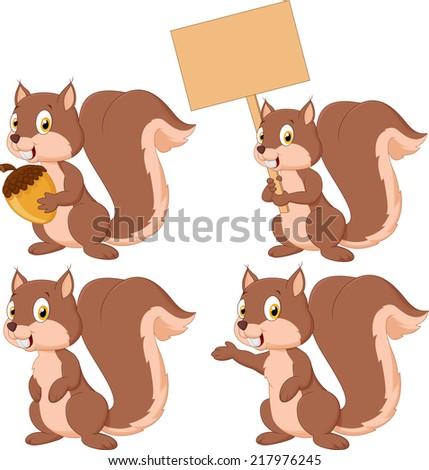 Cute carton squirrel collection set - stock photo
