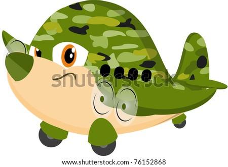 Cute Cartoon Airplane - stock photo