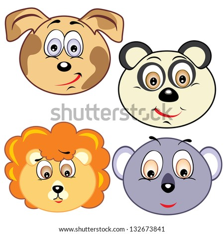 cute cartoon animal head icons - stock photo