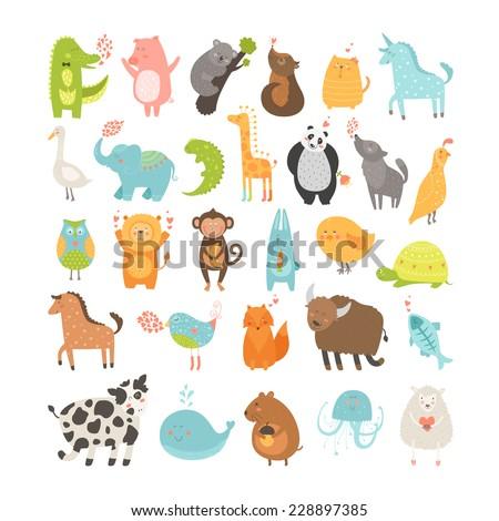 Cute cartoon animals collection. Pig, rabbit, monkey, lion, sheep, bird,goose, panda, koala, chicken, fox, cow, jellyfish, cat, hen, dog, fox, elephant, crocodile, unicorn, giraffe, owl, turtle, horse - stock photo