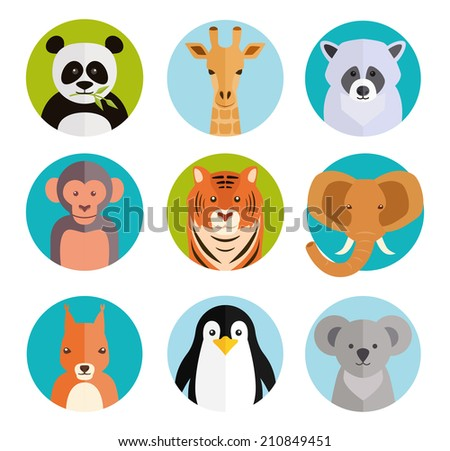 Cute cartoon animals in colored round badges with a panda  giraffe  raccoon  monkey  tiger  elephant  squirrel  penguin and koala - stock photo