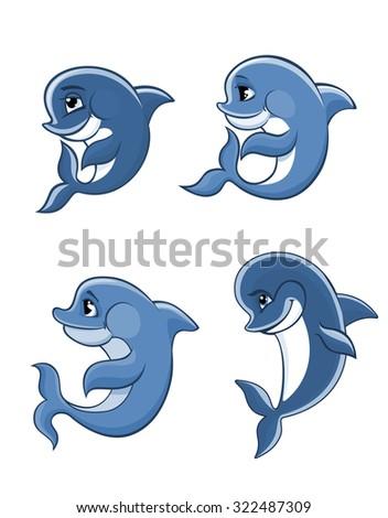 Cute cartoon blue dolphins set for fairytale, comics and wildlife design - stock photo