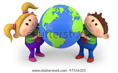 cute cartoon boy and girl holding a globe - high quality 3d illustration - stock photo