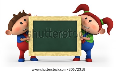 cute cartoon boy and girl with blackboard - high quality 3d illustration - stock photo