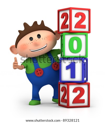 cute cartoon boy giving thumbs up from behind 2012 number blocks - high quality 3d illustration - stock photo
