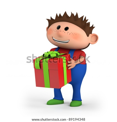 cute cartoon boy with present - high quality 3d illustration - stock photo