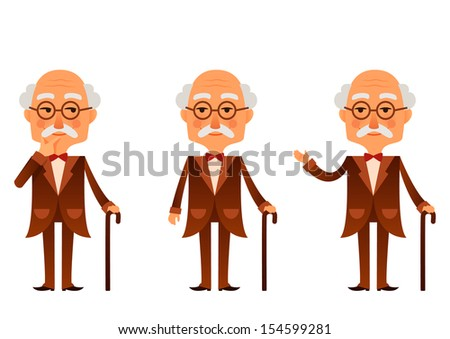 cute cartoon character - a senior man in nice brown suit, in various poses - stock photo