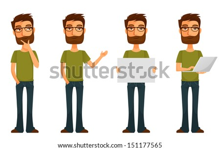cute cartoon character - young man with beard and glasses, in various poses - stock photo