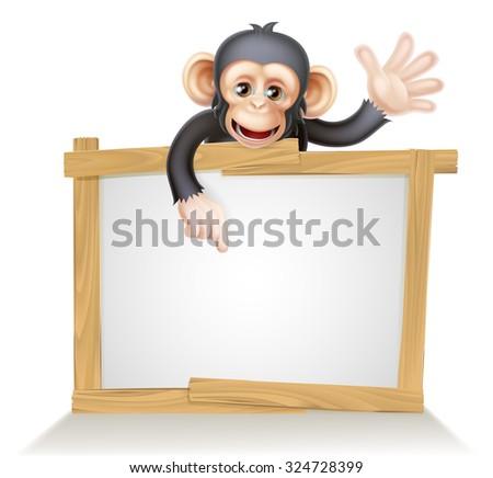 Cute cartoon chimp monkey like character mascot peeking above a sign, pointing at it and waving - stock photo