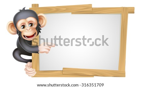 Cute cartoon chimp monkey like character mascot peeking around a sign and pointing at it - stock photo