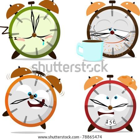 Cute cartoon clocks - stock photo