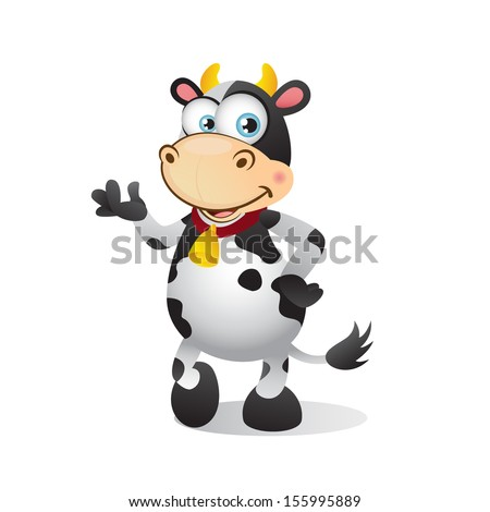 Cute cartoon cow presenting and talking - stock photo