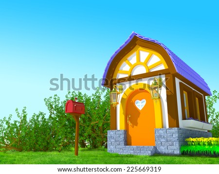 Cute cartoon 3d house in a fairy tale style in the forest - stock photo
