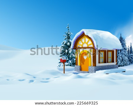 Cute cartoon 3d house with spruces, winter landscape - stock photo