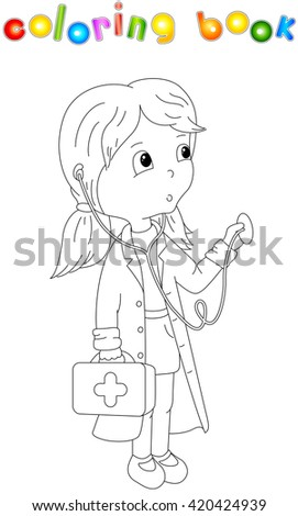 Cute cartoon doctor with a stethoscope. Coloring book for kids - stock photo